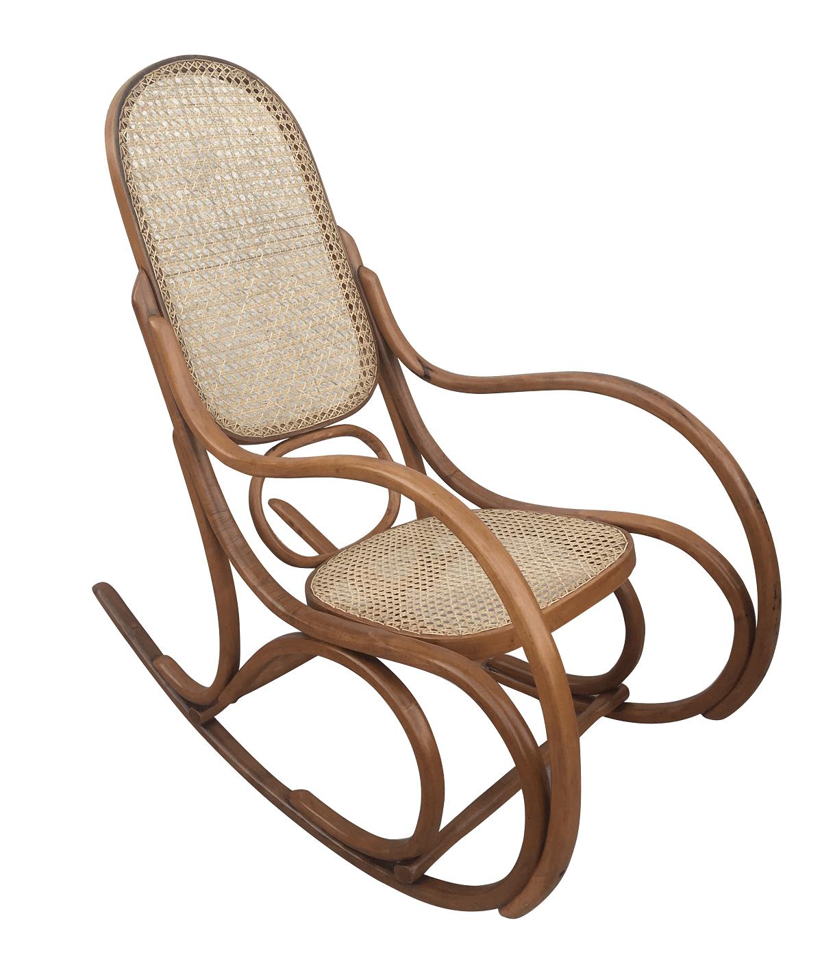 Antiga Cadeira De Balanço Austriaca Thonet Palhinha Perfeita