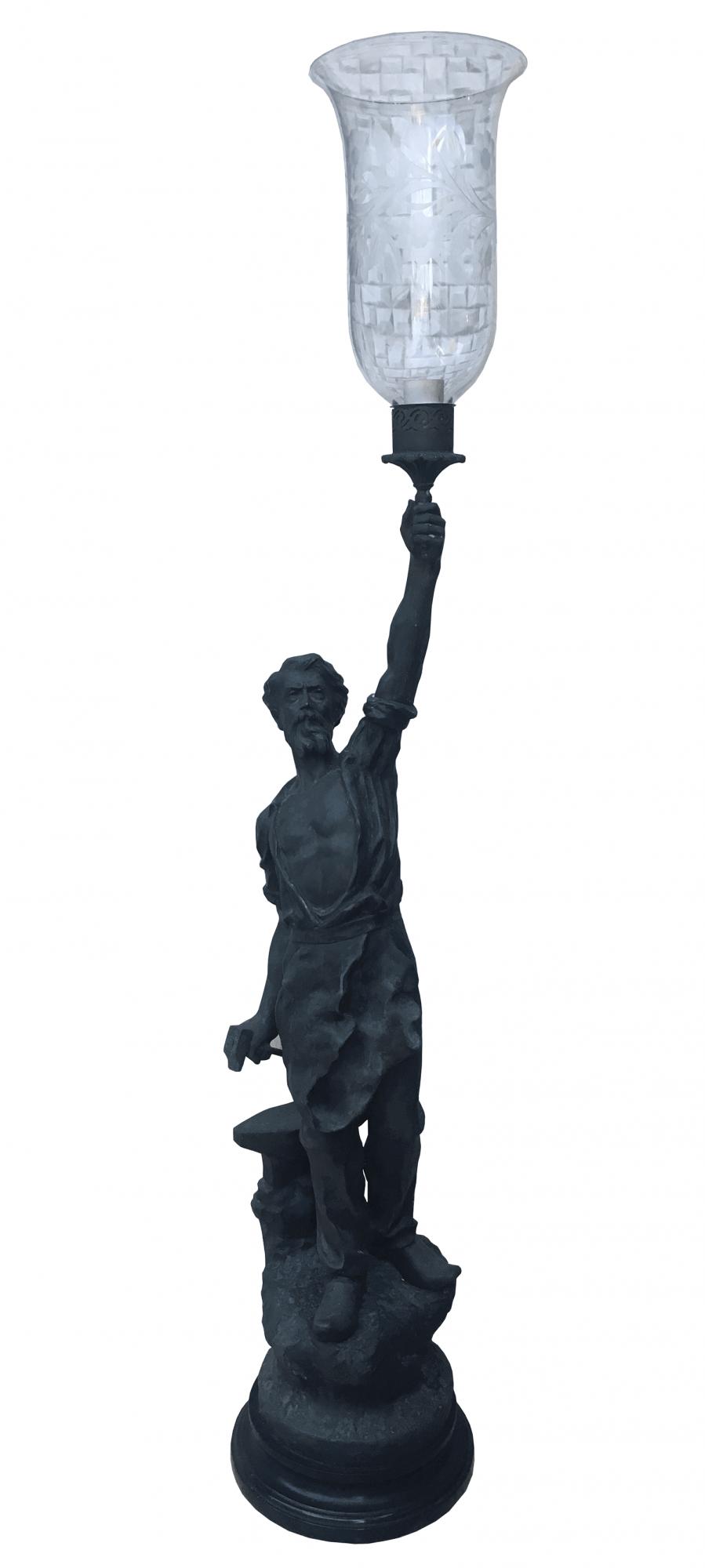 Antiga Escultura Assinada Ferreiro Petit Bronze 125cm Altura