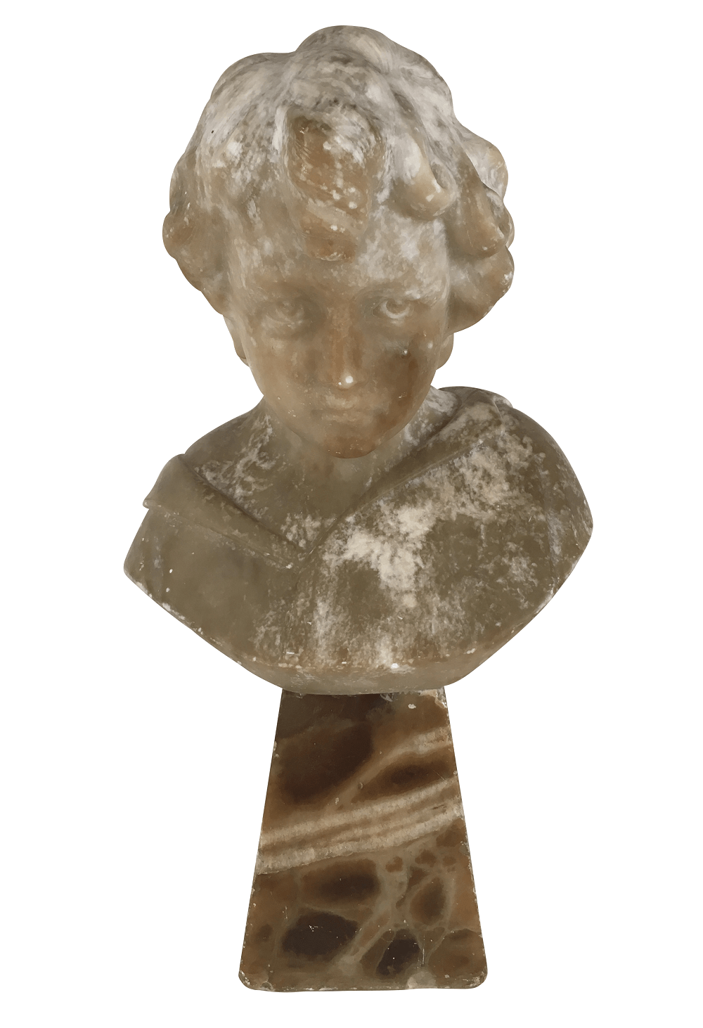 Antiga Escultura Busto Em Alabastro Assinado
