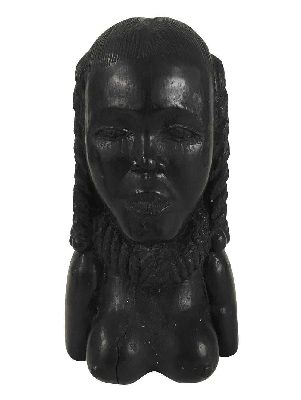 Antiga Escultura Em Ebano Busto Mulher Africana