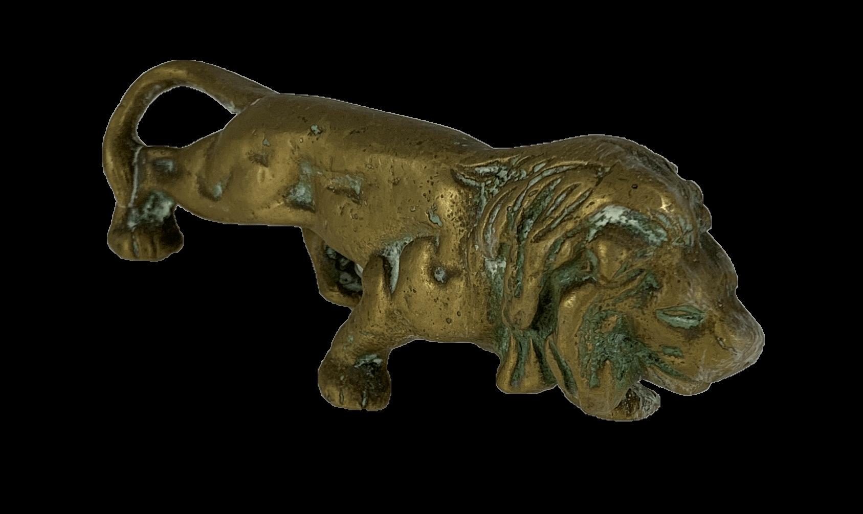 Antiga Escultura Leao Em Bronze 14cm