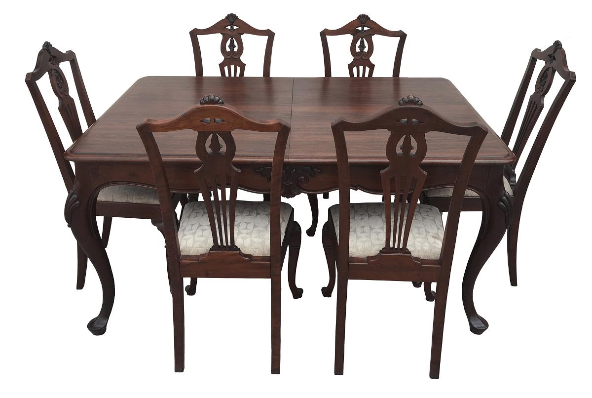 Antiga Mesa De Jantar Com 6 Cadeiras Luis Xv Madeira Nobre