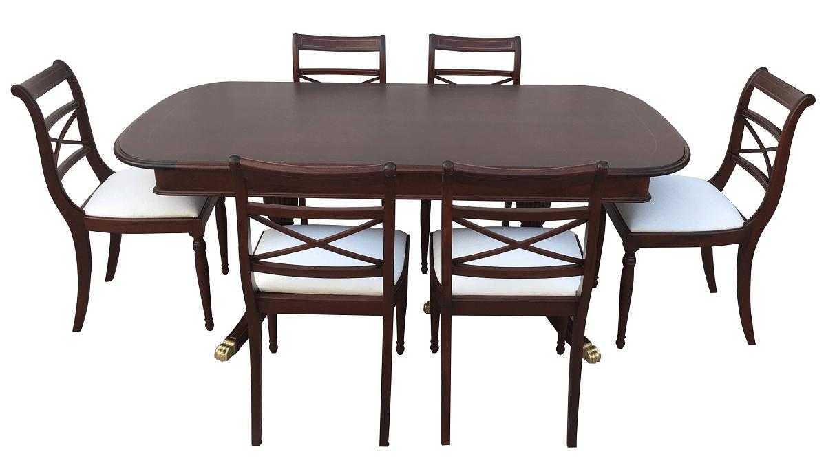 Antiga Mesa De Jantar Inglesa 6 Cadeiras Em Madeira Nobre