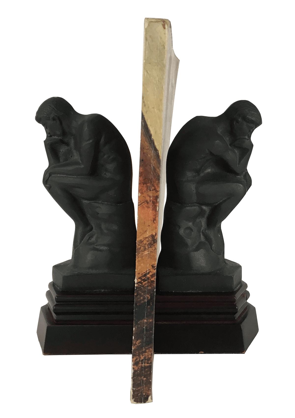 Antigo Aparador De Livros Em Bronze O Pensador Rodin
