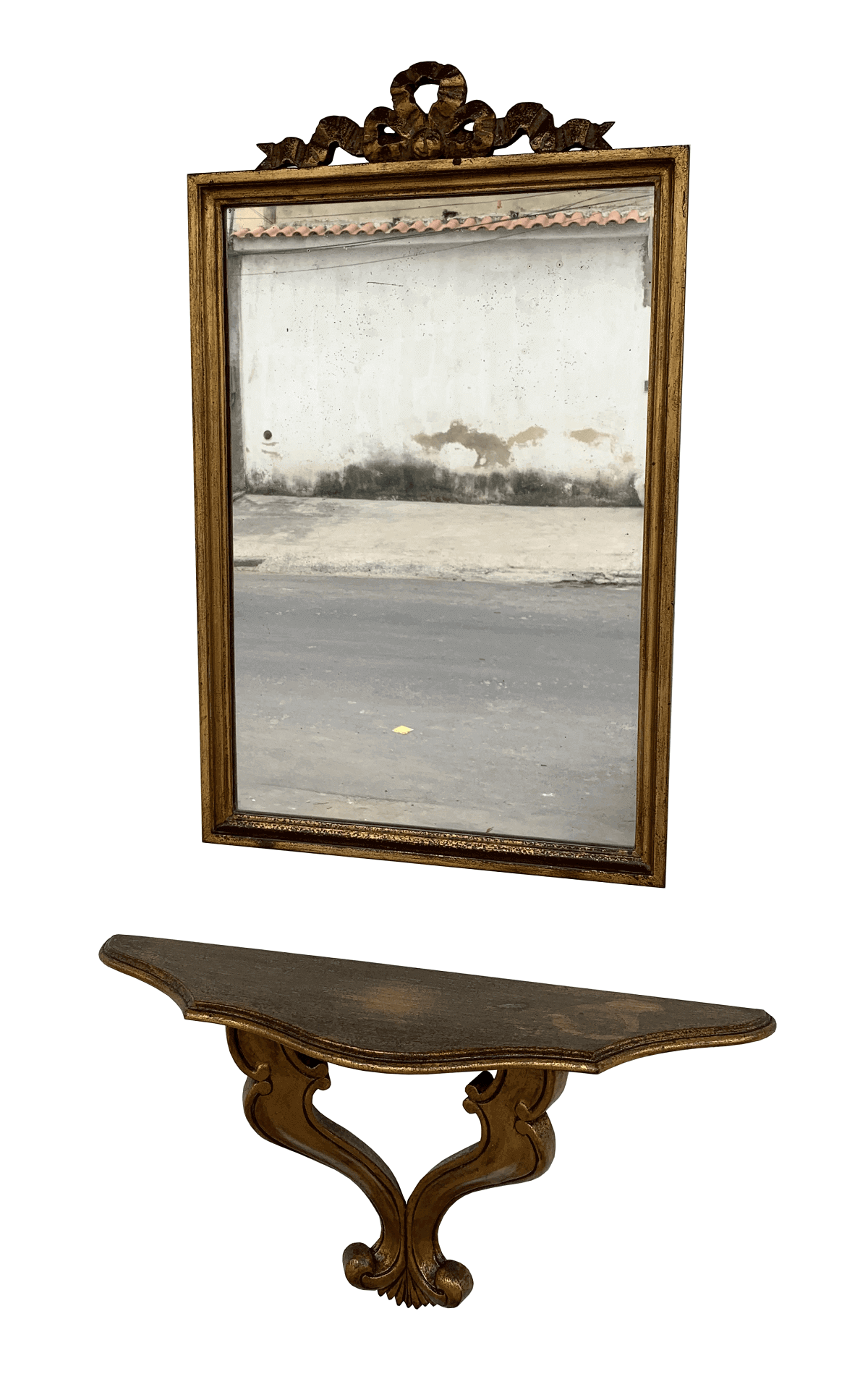 Antigo Aparador De Parede Com Espelho Luis Xv Folheado A Ouro