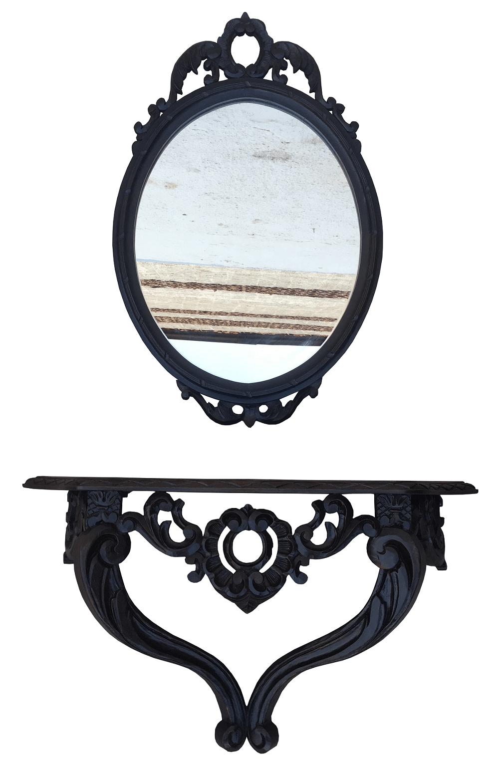 Antigo Aparador De Parede Com Espelho Todo Entalhado Madeira