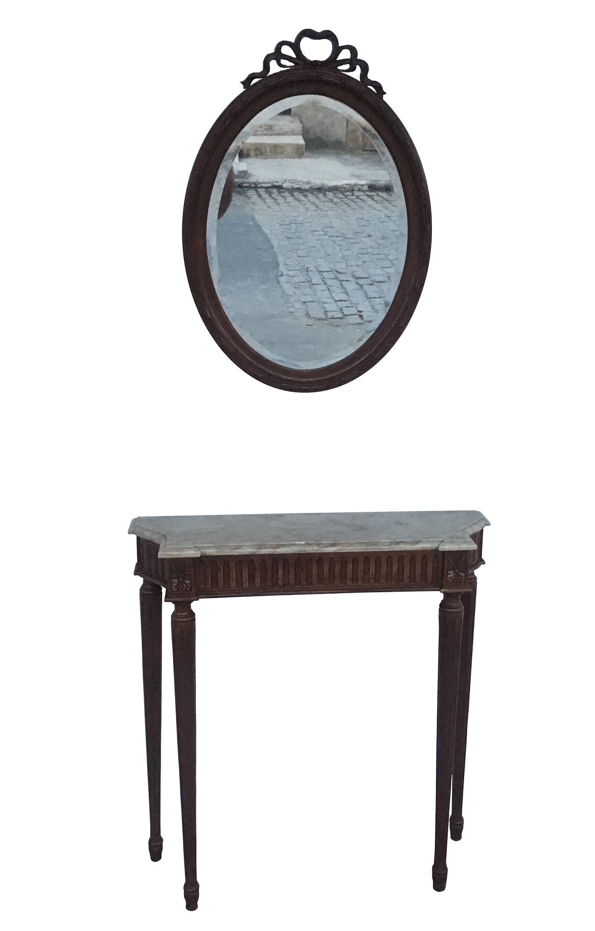 Antigo Aparador Luis Xvi Com Espelho Bisotado