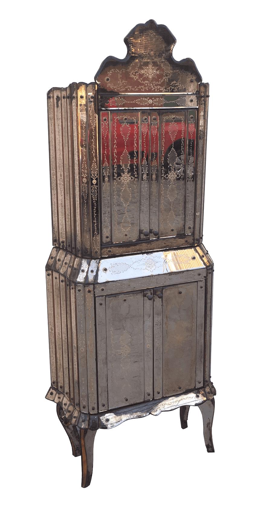 Antigo Bar Cristaleira Veneziano Todo Espelhado Magnifico