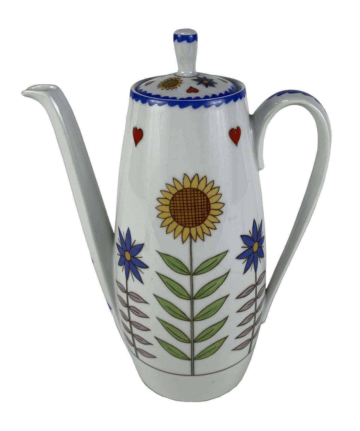Antigo Bule De Cafe Porcelana Schmidt Girassol