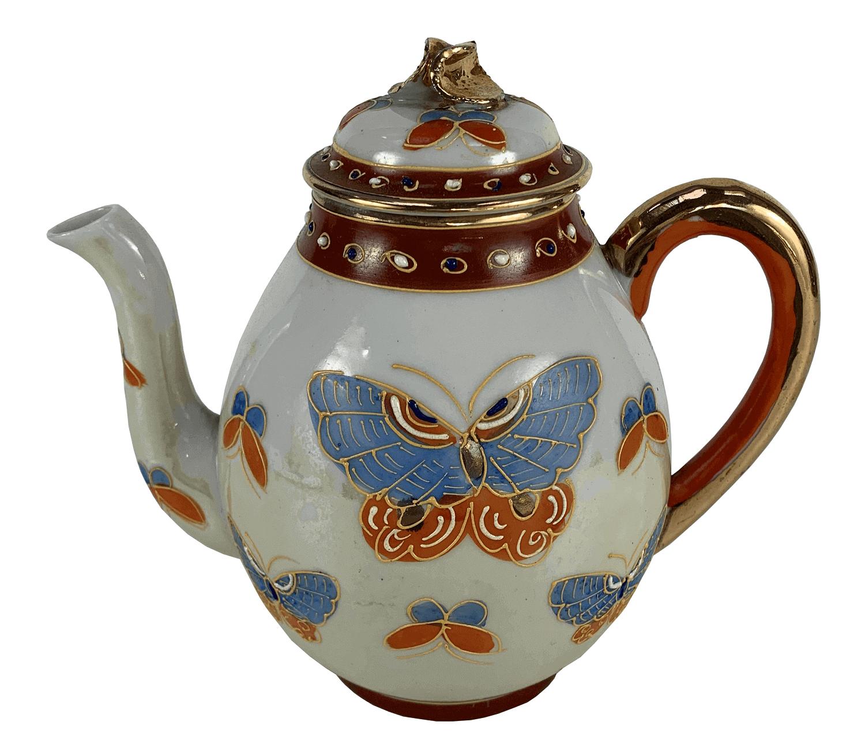 Antigo Bule De Cha Porcelana Japonesa Estilo Satsuma