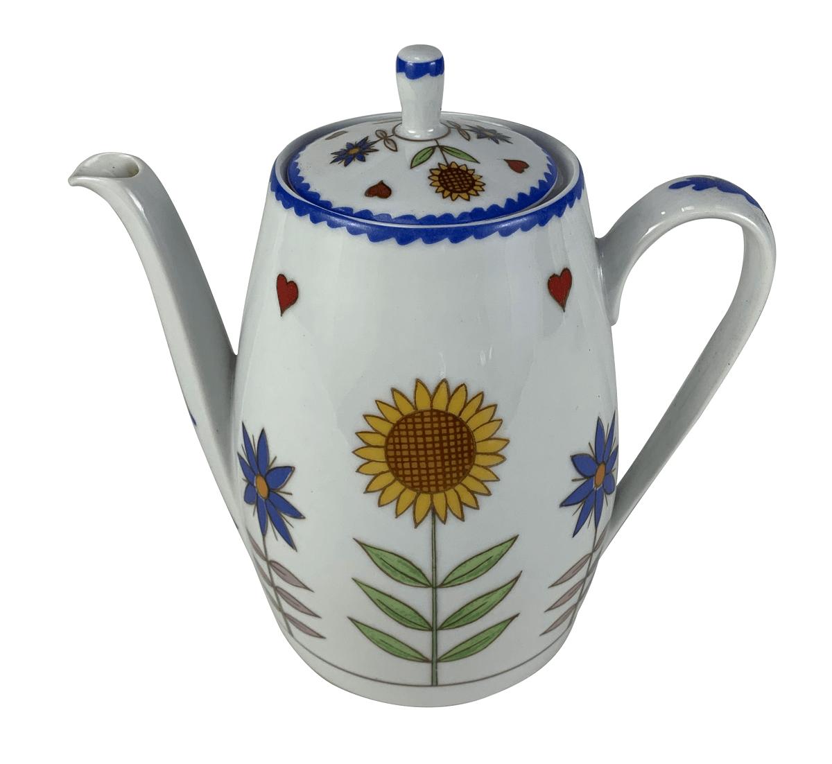 Antigo Bule De Cha Porcelana Schmidt Girassol