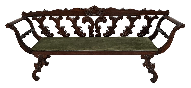Antigo Canape Em Jacaranda Maciço