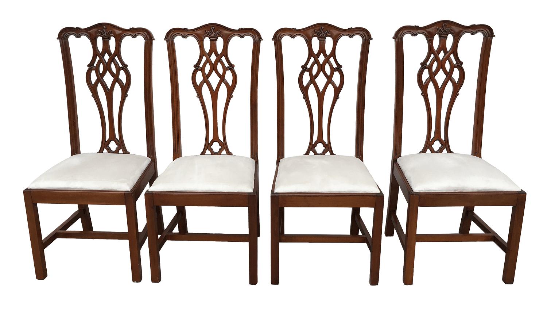Antigo Conjunto 4 Cadeiras Madeira Nobre Belissimas
