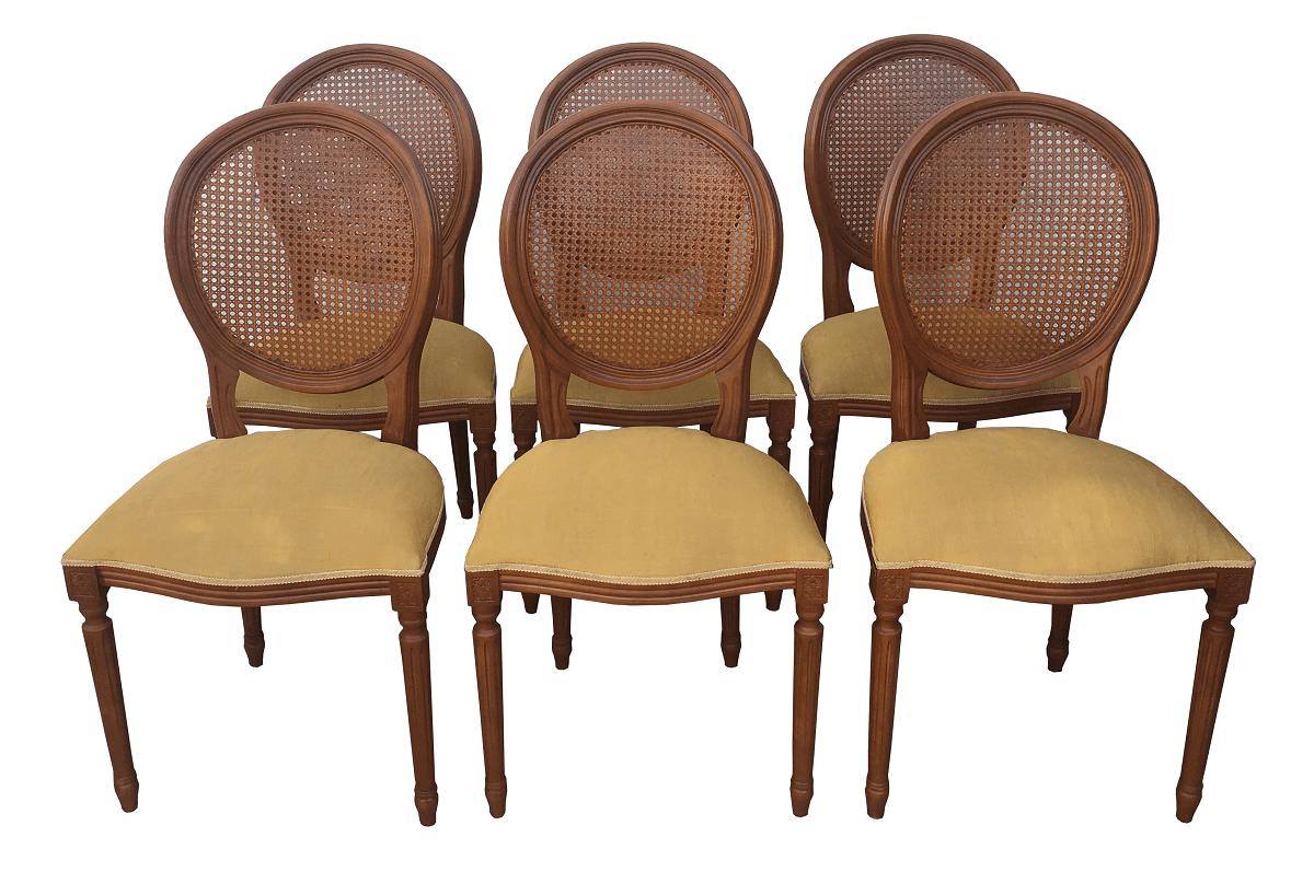 Antigo Conjunto 6 Cadeiras Medalhao Palhinha Belissimas