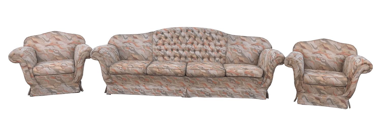 Antigo Conjunto Sofa 4 Lugares E Poltronas Tecido Colorido