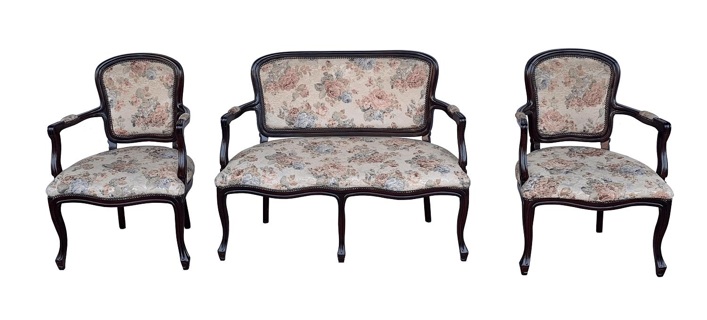 Antigo Conjunto Sofa E Poltronas Estilo Luis Xv Florido