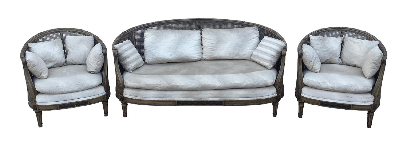 Antigo Conjunto Sofa E Poltronas Luis Xvi Com Palhinha