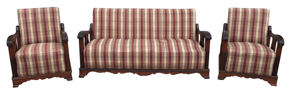 Antigo Conjunto Sofa E Poltronas Madeira Nobre Estilo Renascença