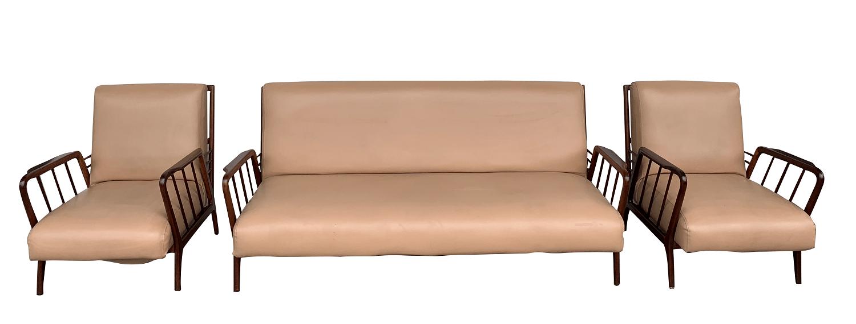 Antigo Conjunto Sofa E Poltronas Rino Levi Design Anos 50