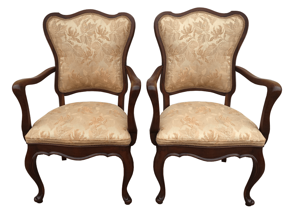 Antigo Par De Cadeira De Braço Chipandelle Madeira Nobre Perfeita
