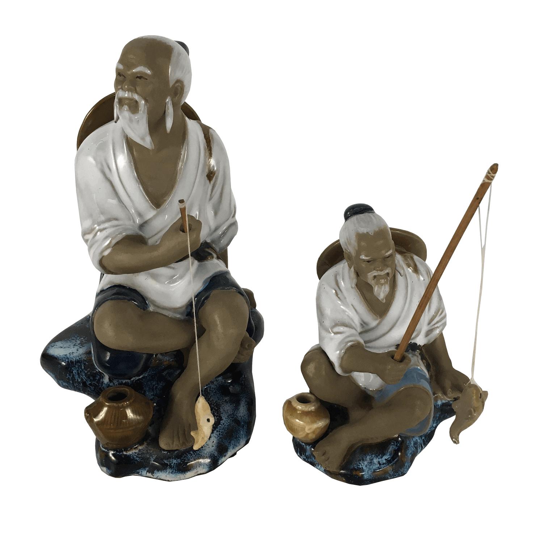Antigo Par De Escultura Pescador Chines