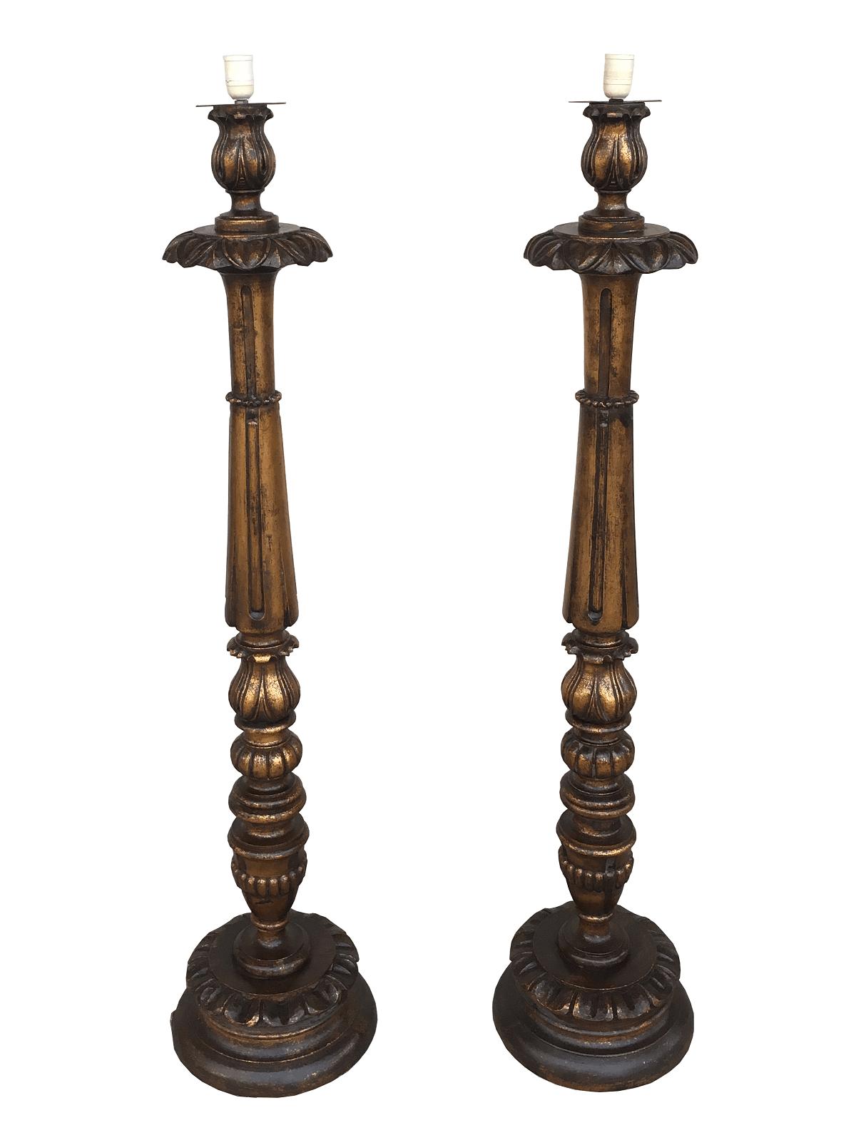 Antigo Par De Tocheiro Madeira Folheado Ouro 130cm Altura