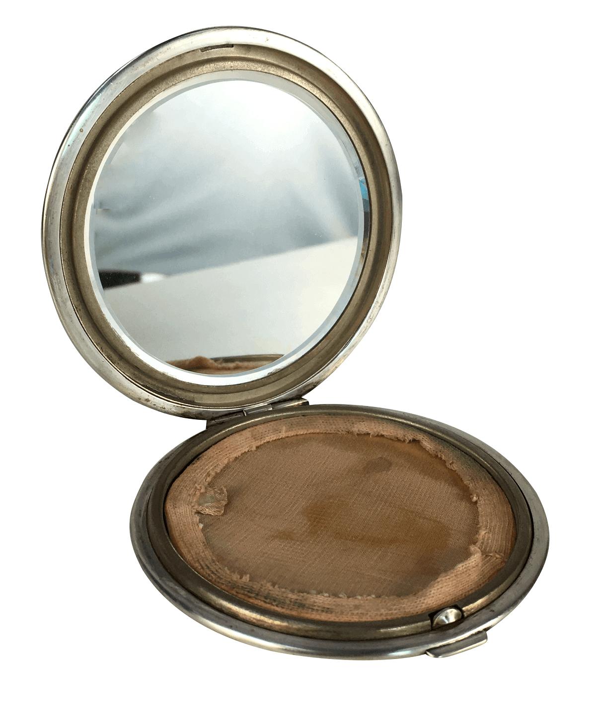 Antigo Porta Maquiagem Prata De Lei Com Espelho