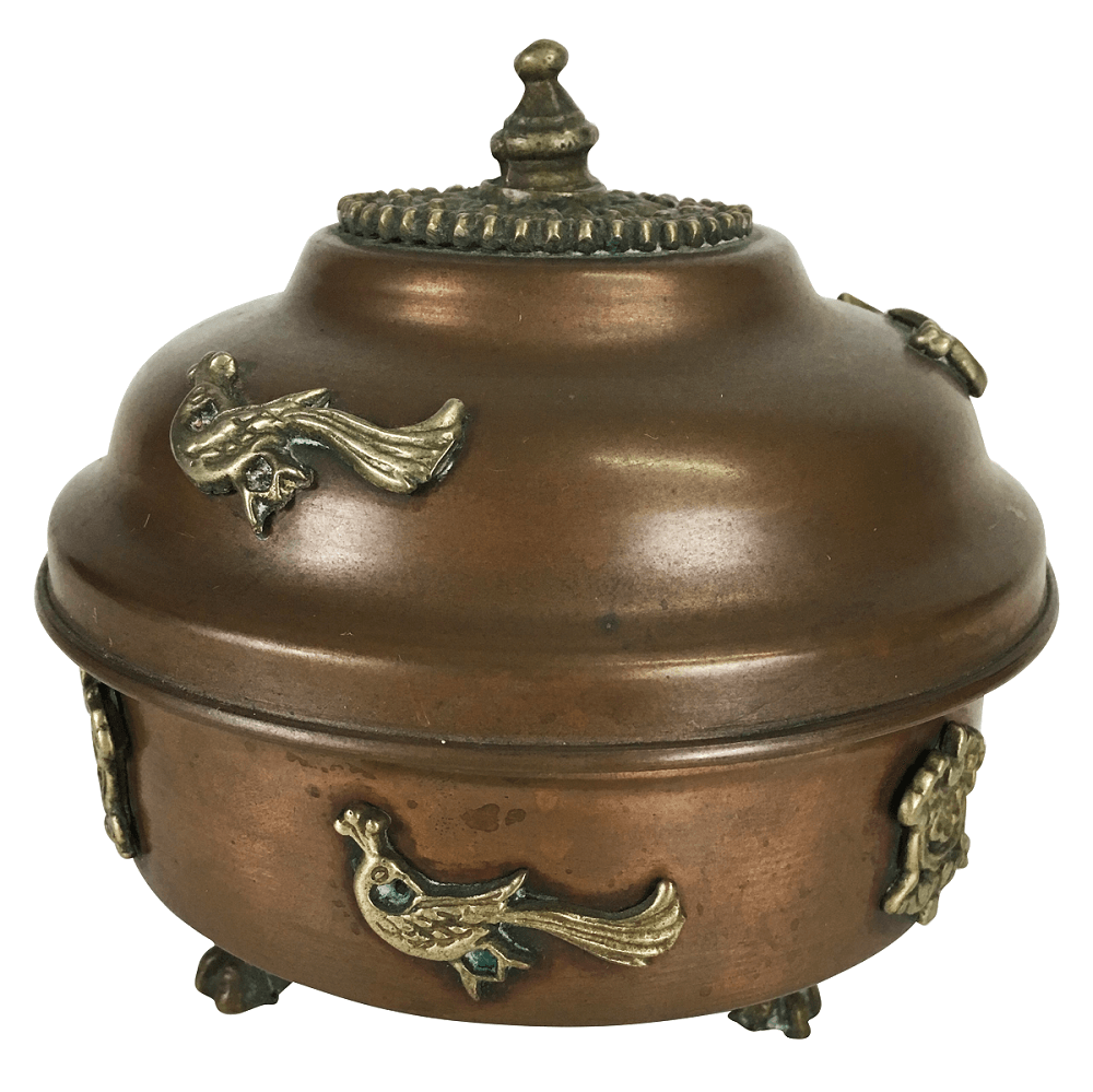 Antigo Potinho Em Metal Pes Pata De Leao