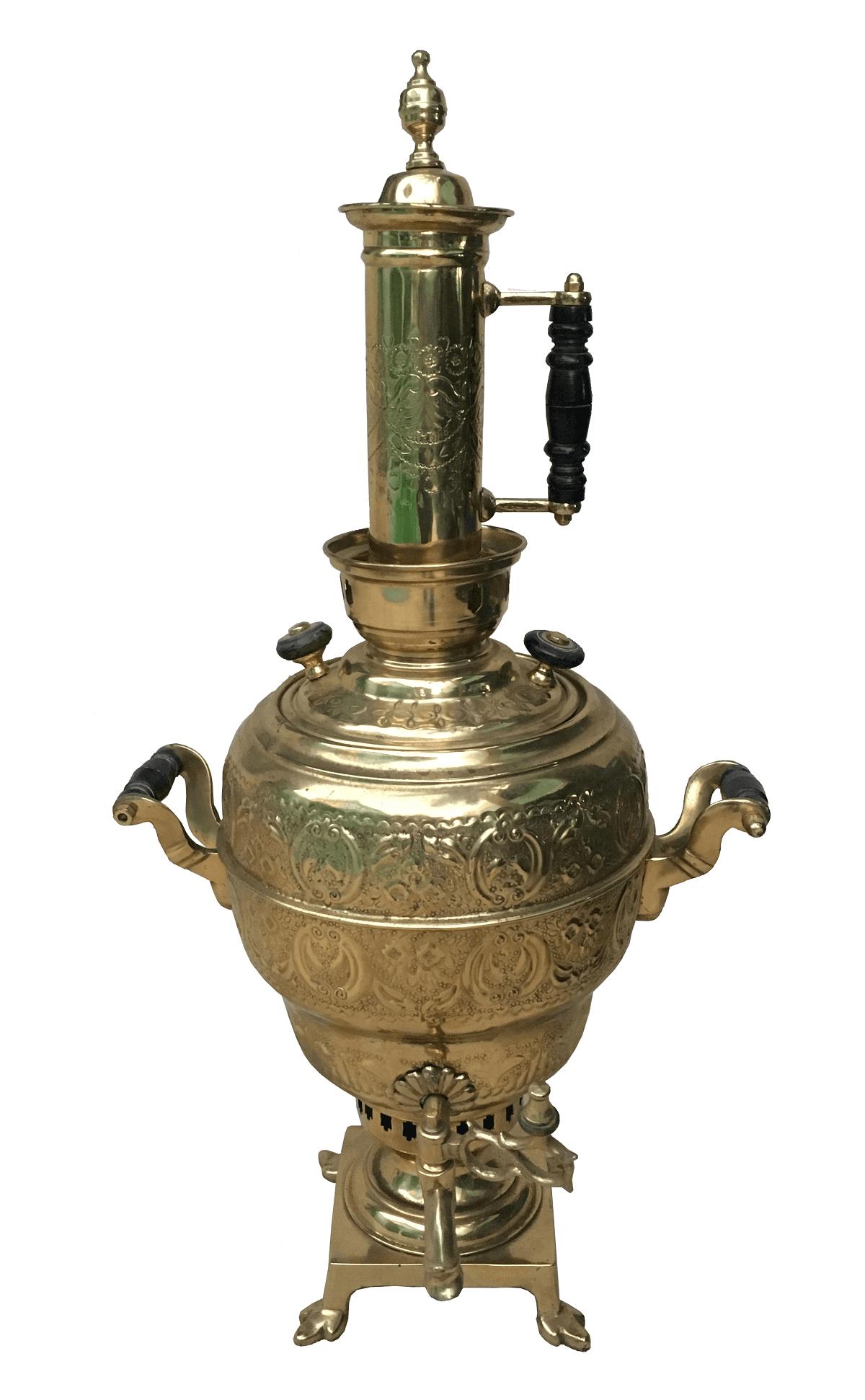 Antigo Samovar Metal Dourado Grande