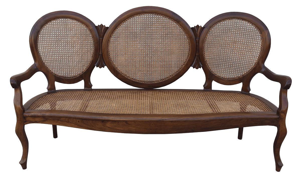 Antigo Sofa Canape Medalhao Palhinha Indiana