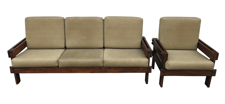 Antigo Sofa E Poltrona Em Madeira Maciça Design