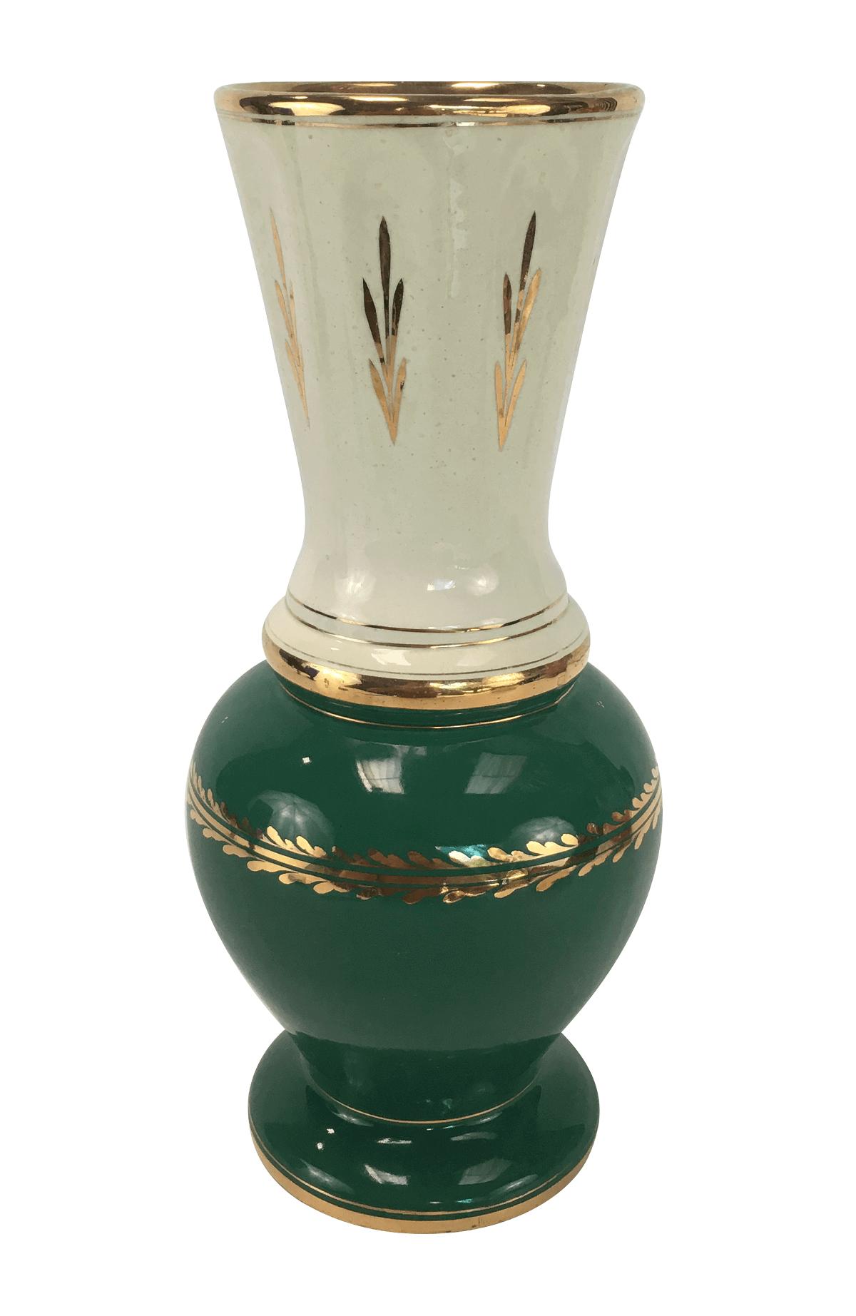 Antigo Vaso Ceramica Verde Detalhes Ouro 30cm