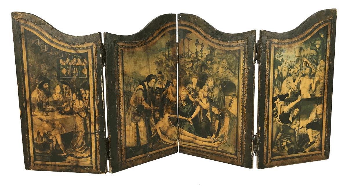 Arte Sacra Oratorio Placa Antiga Madeira Biombo