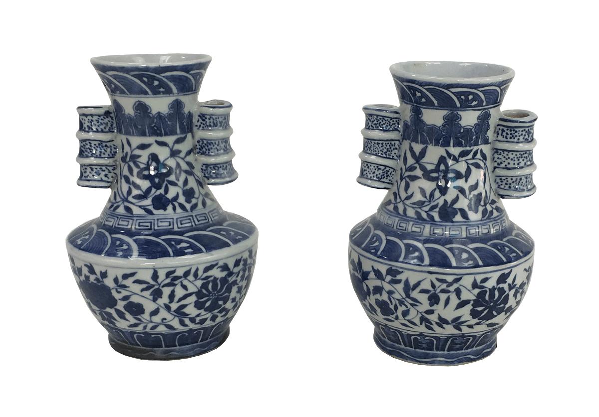 Belo Par De Vaso Em Porcelana Azul E Branco Chines
