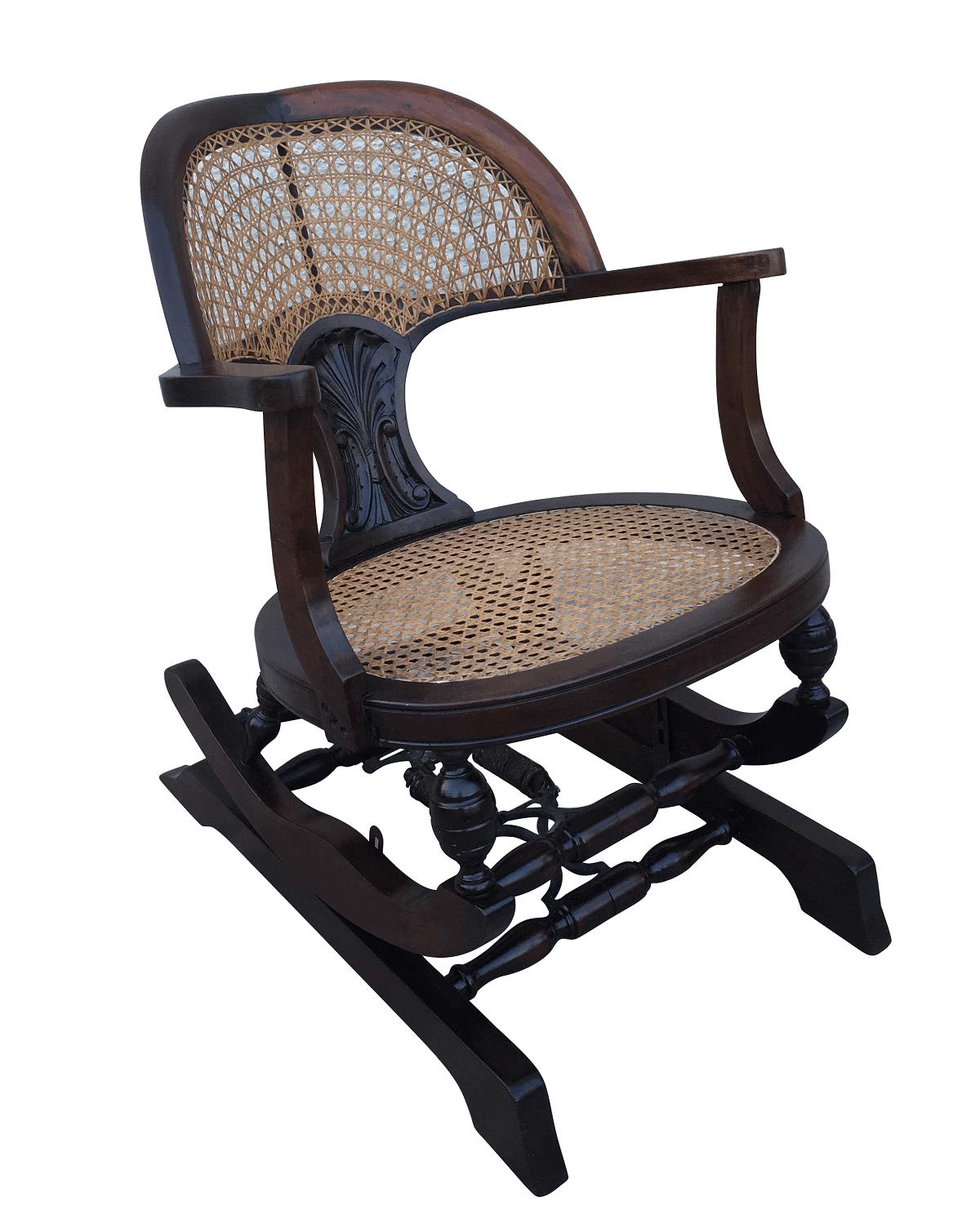 Cadeira De Balanço Antiga Pequena Palhinha Indiana Perfeita