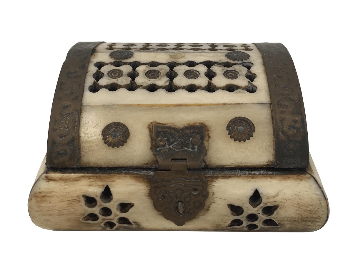 Caixa Decorativa Em Osso E Metal