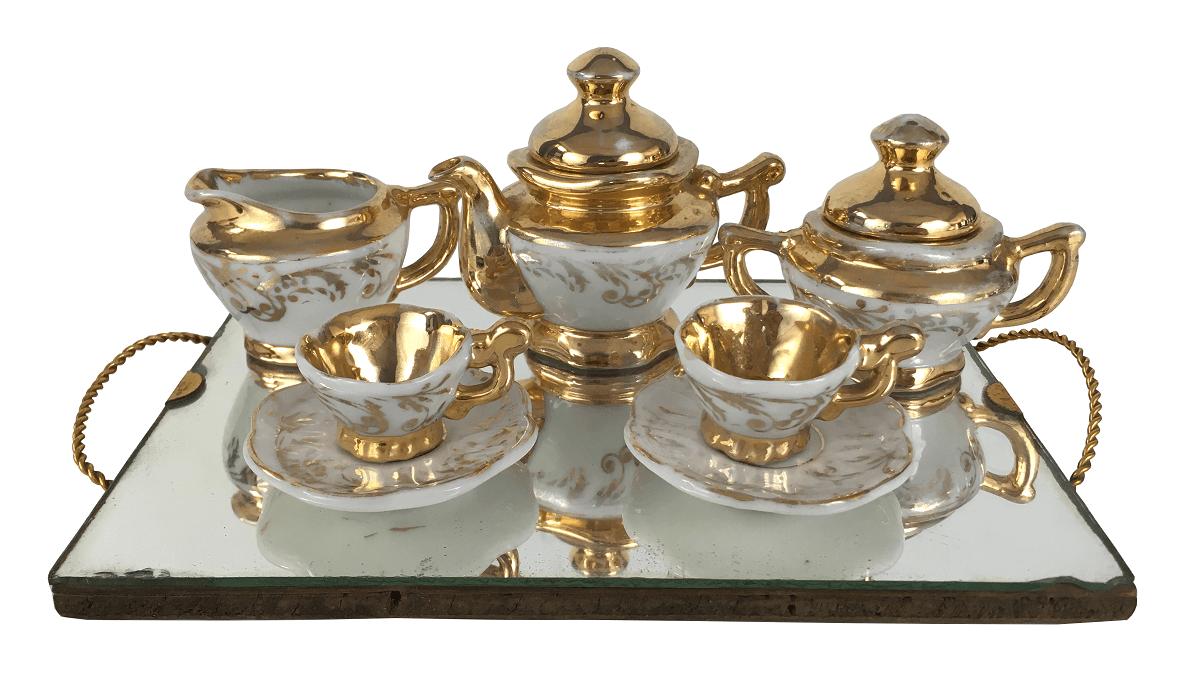Conjunto De Cha Miniatura Porcelana Antiga Em Ouro