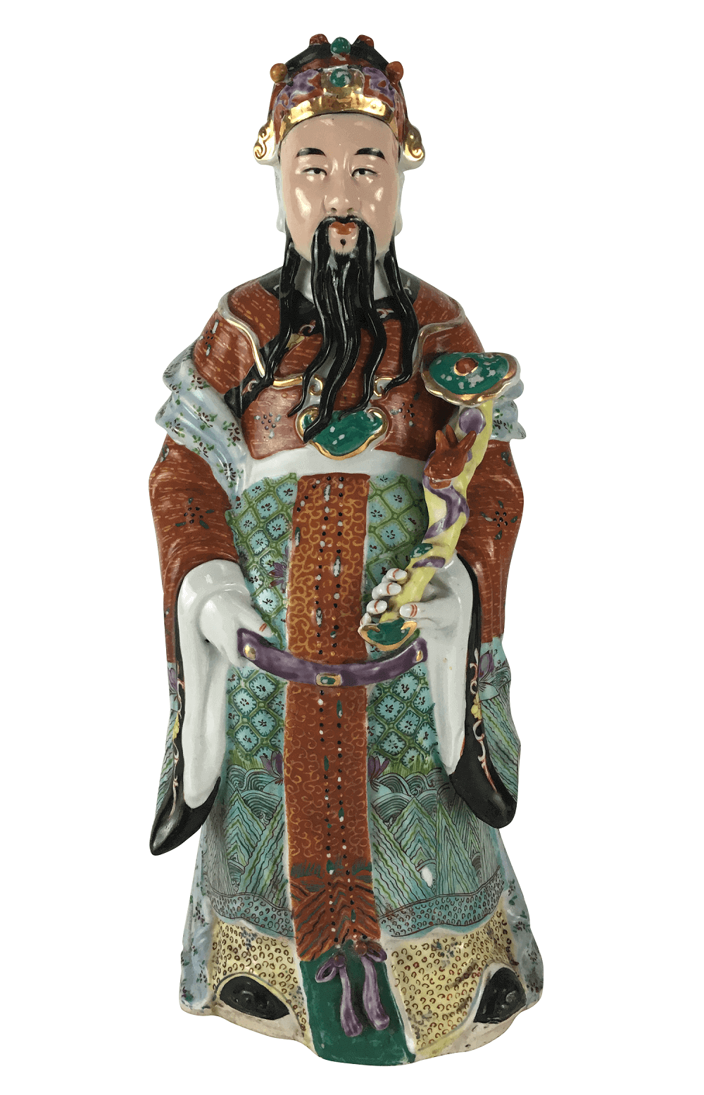 Escultura Antiga Buda Porcelana Chinesa Policromada 43cm