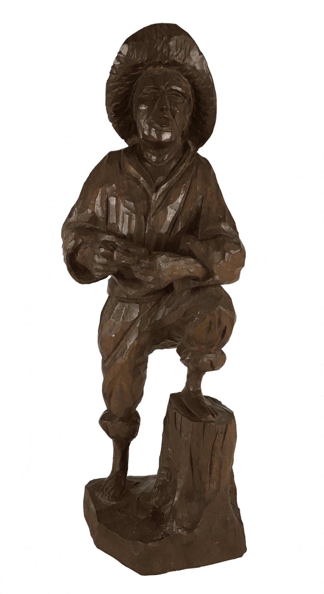 Escultura Antiga De Madeira Roceiro 43cm