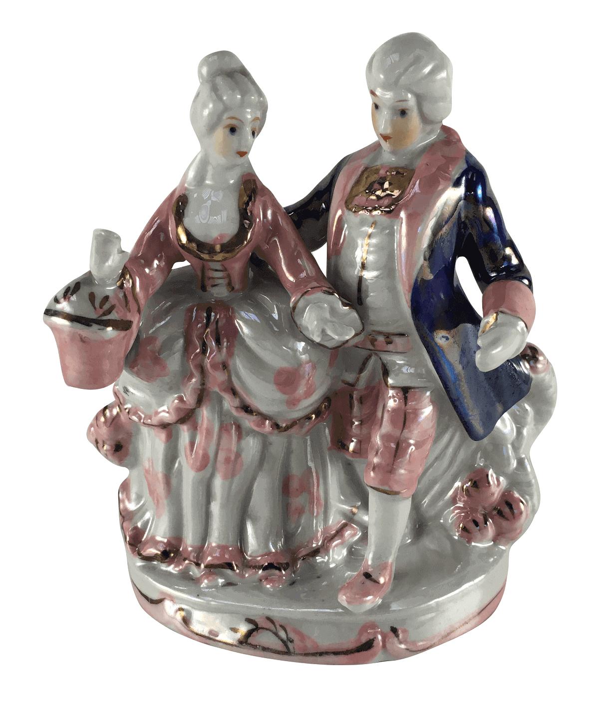 Escultura Bibelo Porcelana Casal De Nobres