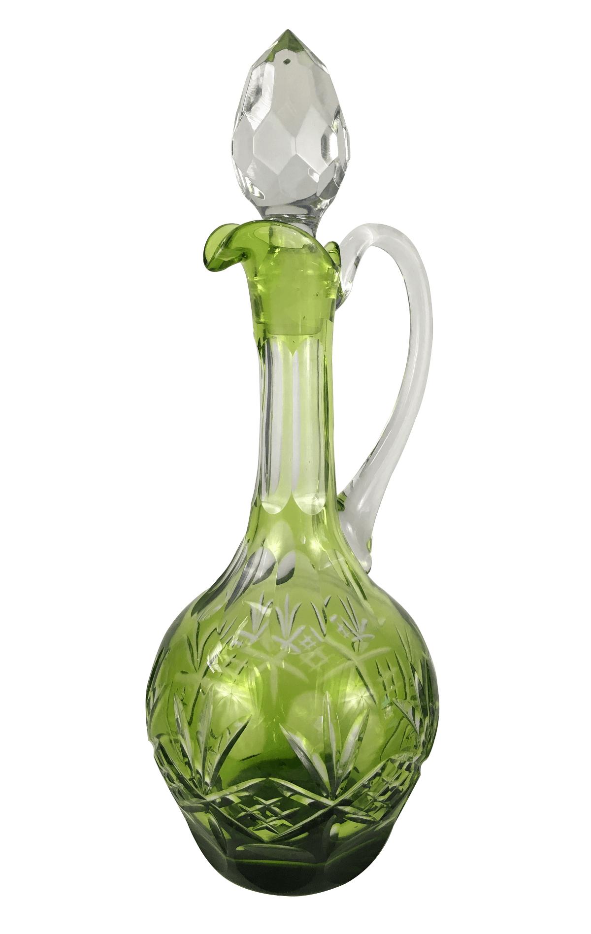 Espetacular Garrafa Licoreira Cristal Verde Provavelmente Baccarat