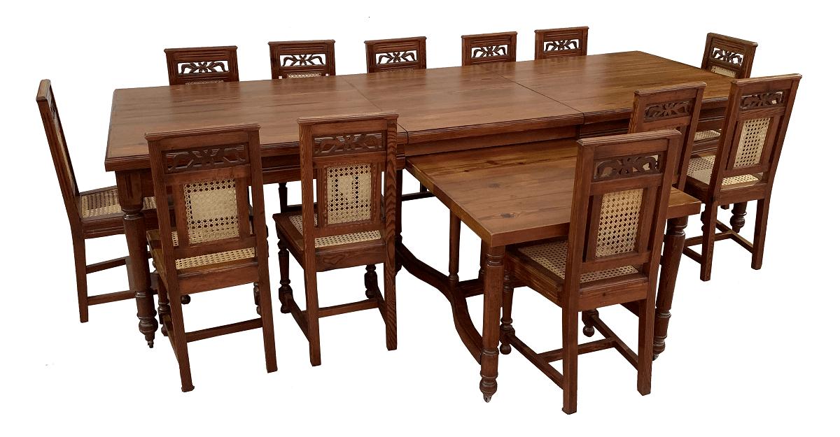 Espetacular Mesa De Jantar Antiga 12 Cadeiras Pinho De Riga