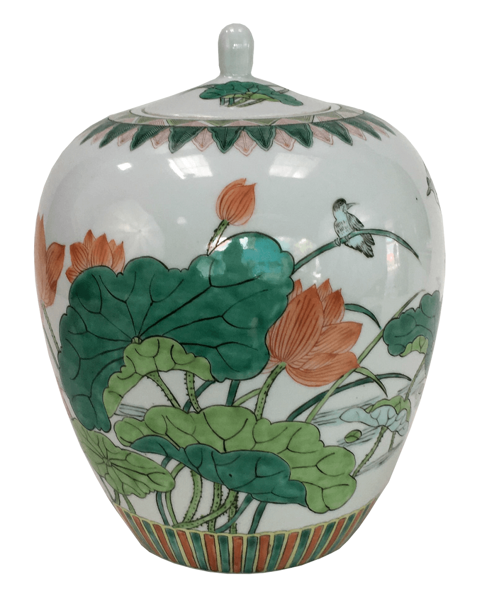 Grande Potiche Porcelana Chinesa Flores Passaros