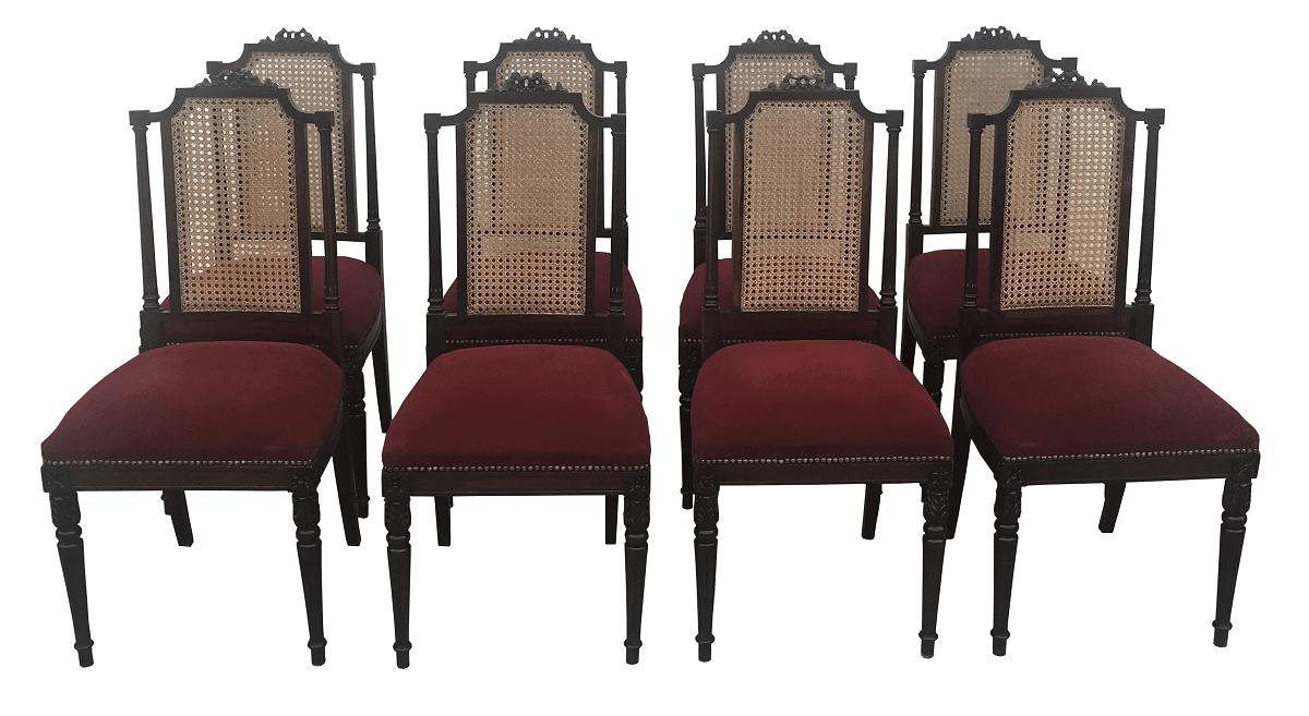 Incrível Conjunto 8 Cadeiras Francesas Jacarandá E Palhinha