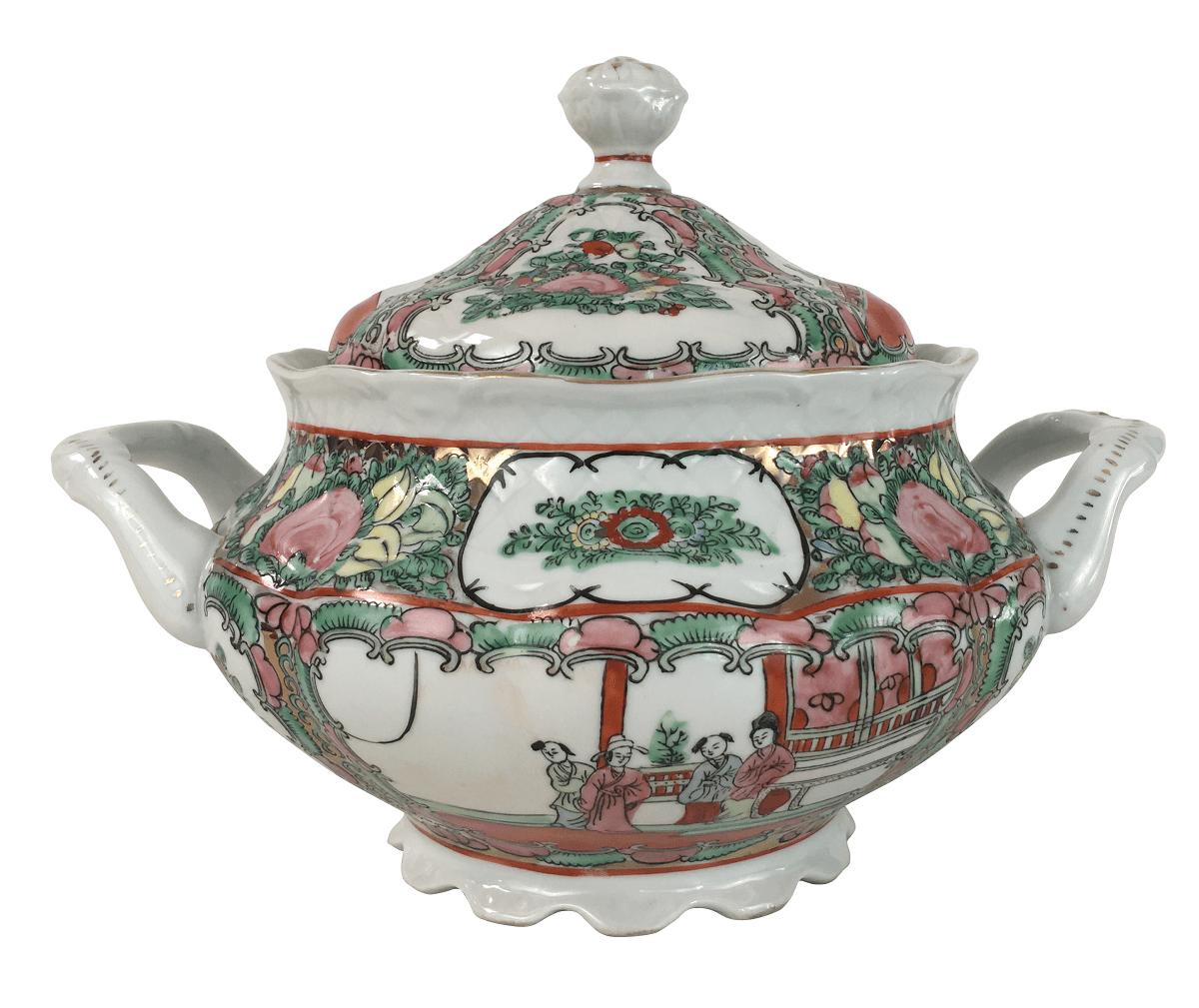 Linda Sopeira Porcelana Chinesa Ao Gosto Mandarim Familia Rosa