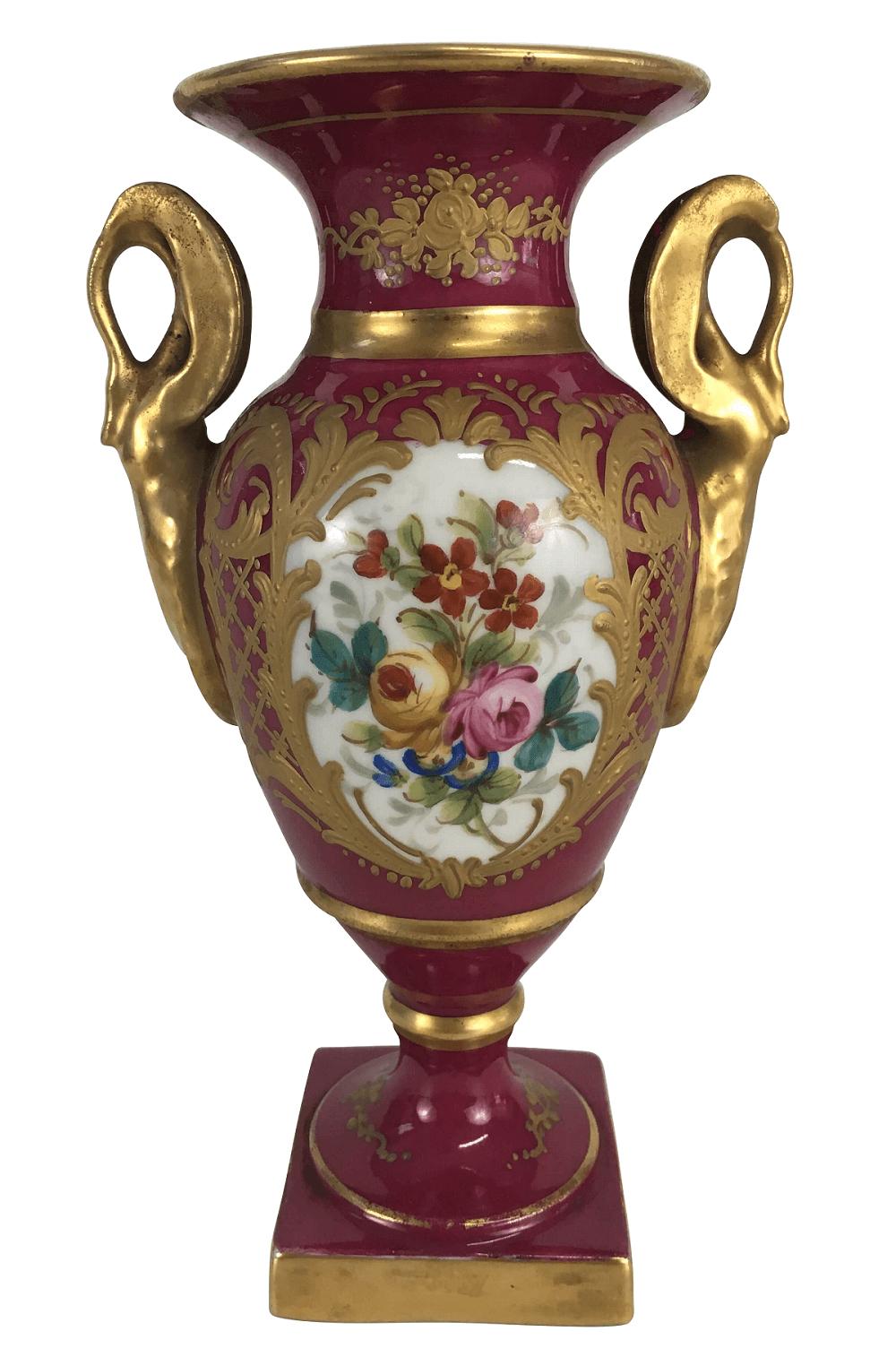 Magnifica Anfora Porcelana Antiga Sevres Rosa E Ouro