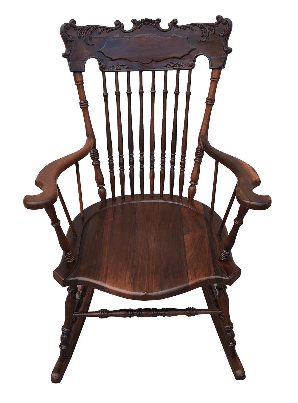 Magnifica Cadeira De Balanço Antiga Toda Em Jacaranda Maciço
