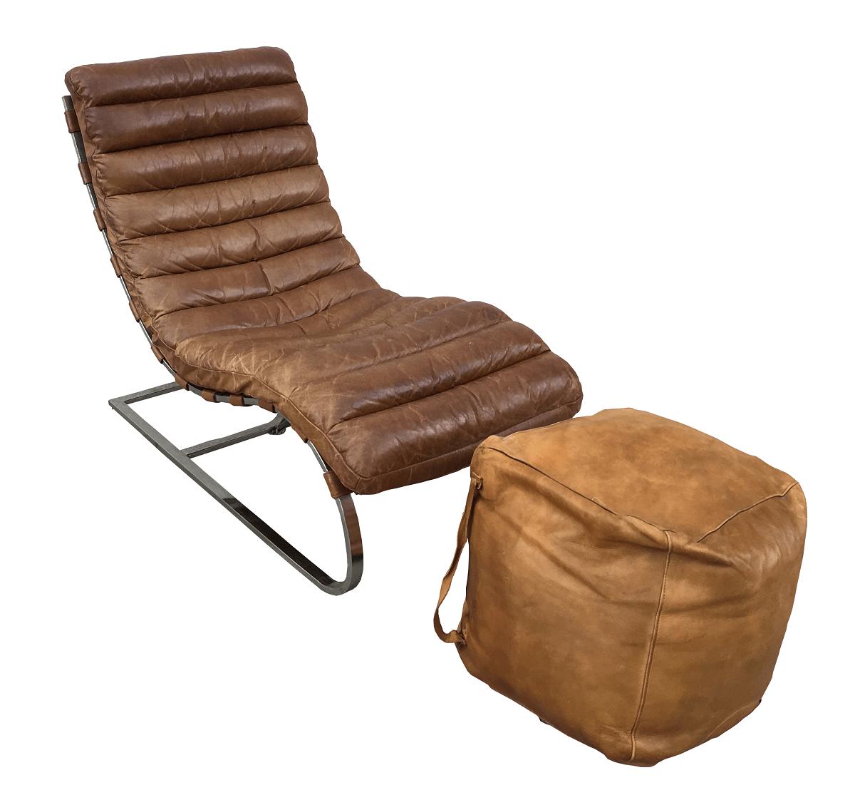Magnifica Chaise Longue Oviedo Design Couro e Inox