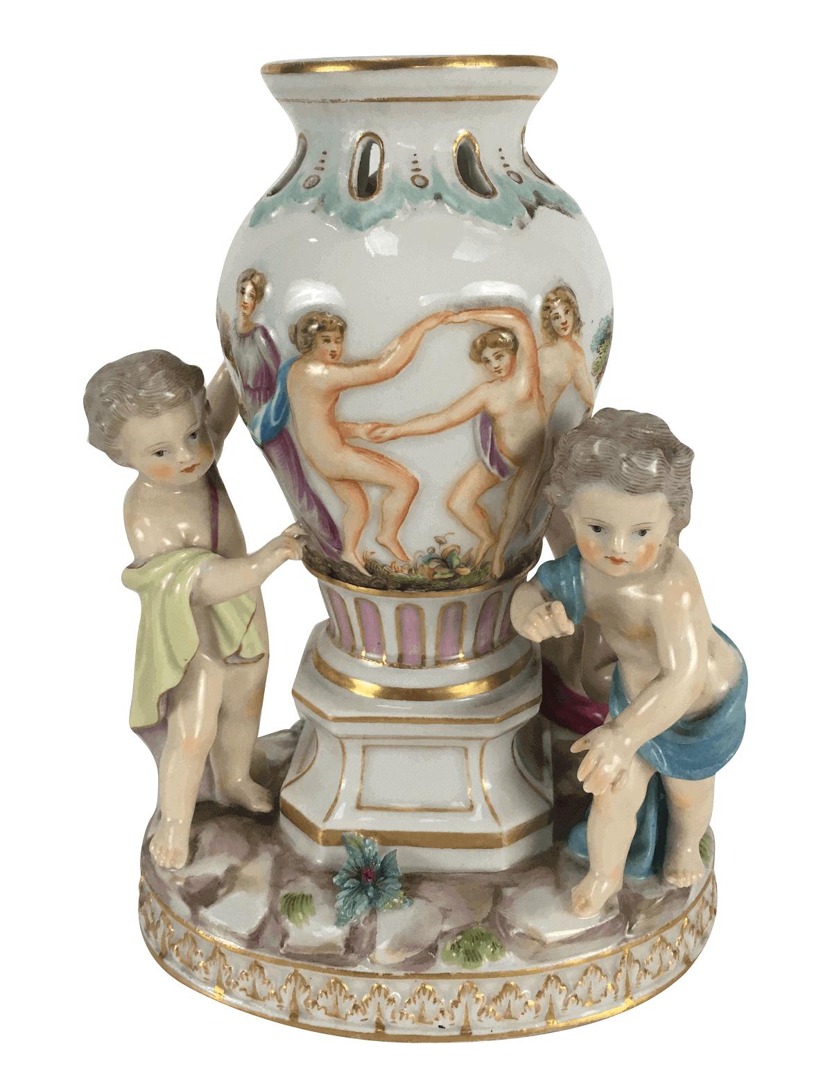 Magnifica Escultura Antiga Porcelana Meissen Alema Anjinhos