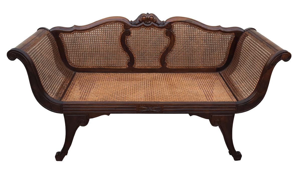 Magnifico Canape Sofa Antigo Jacaranda E Palhinha